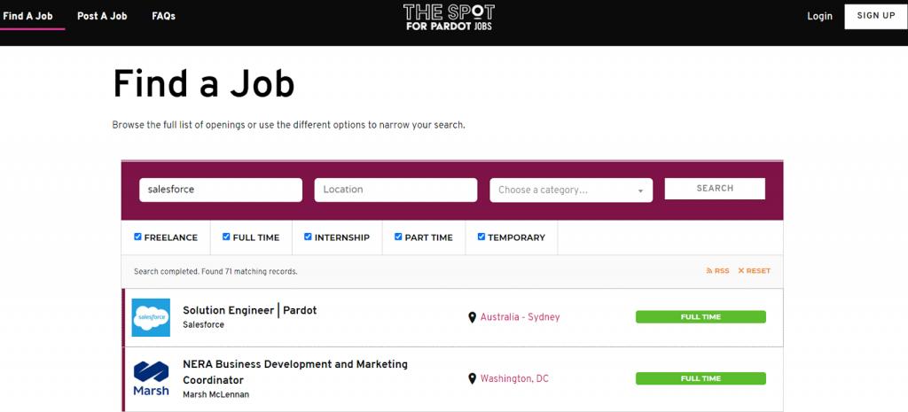 The Spot for Pardot Jobs 2